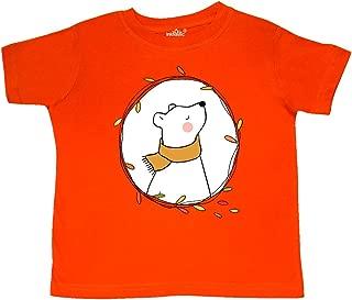 White Bear with a Scarf, Polar Bear, Leaf Frame Toddler T-Shirt