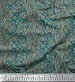 Soimoi Blau Georgette Viskose Stoff künstlerisch Paisley