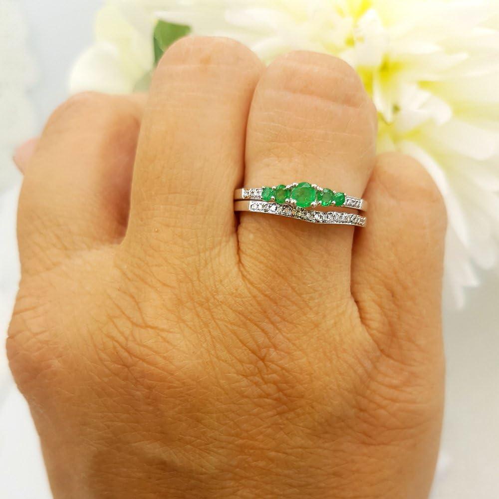 Dazzlingrock Collection 14k Round Emerald And White Diamond Ladies 5 Stone Bridal Engagement Ring Matching Band Set, White Gold