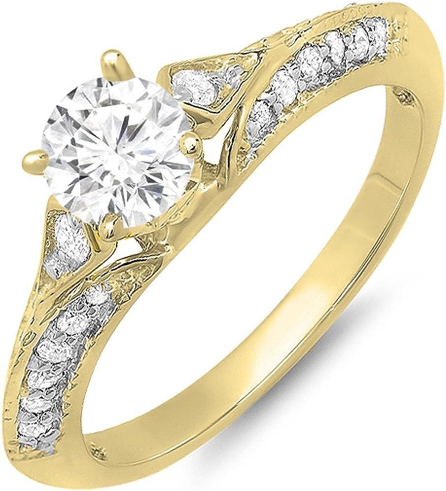 Dazzlingrock It is very popular Collection 14K Gold Round Diamon Moissanite White Indefinitely