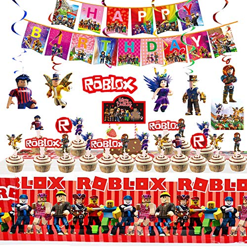 Robot Blocks Party Supplies for Kids' Birthday, Ro-blox Decorations Included Banners, Cake Topper, Cupcake Toppers, Hanging Decorations, Tablecover, Napkins and Balloons for Kids Party Supplies Robot Blocks Birthday Party Decorations Favors