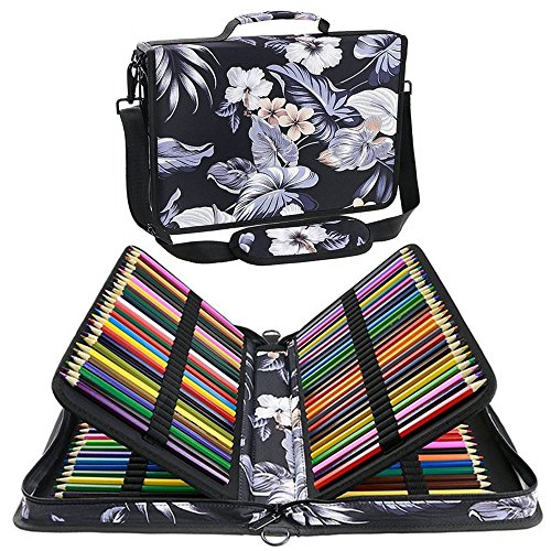 Shulaner 色鉛筆ケース 160スロット美術絵筆入れバック、素描鉛筆や美術絵筆などを入れる、大容量ナイロン布製ショルダーハンド筆箱 (ふそう- 白い)