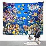 N/A Tapiz Acuario Colorido de Peces Que Muestra Diferentes Peces Nadando Vida Marina decoración del hogar Tapiz Colgante de Pared para Sala de Estar Dormitorio Dormitorio