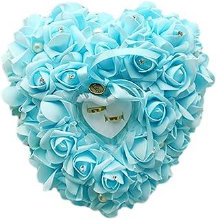 zentto Hochzeits-Ring mit Herz rosa mit Accessoires Romantischer Ring Ring, Box-Kissen, mit Flora Satin 1 Stück, 24 x 24 cm, Band, Hellblau Water Blue, 24 x 22 cm