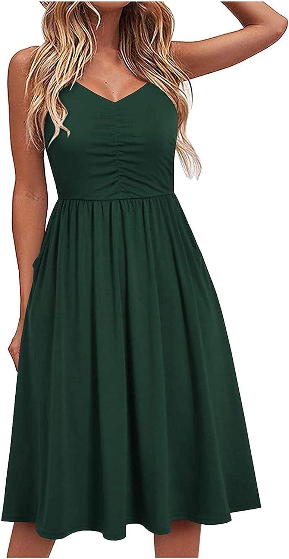 Eduavar Dresses for Women, Womens Summer Floral V Neck Dress Spaghetti Strap Sleeveless Casual Beach Swing Midi Sundress