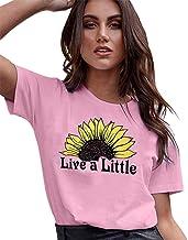 New Women's T-Shirt, Share Women's Fashion Sunflower Pattern T-Shirt top Summer Casual O-Neck Short Sleeve