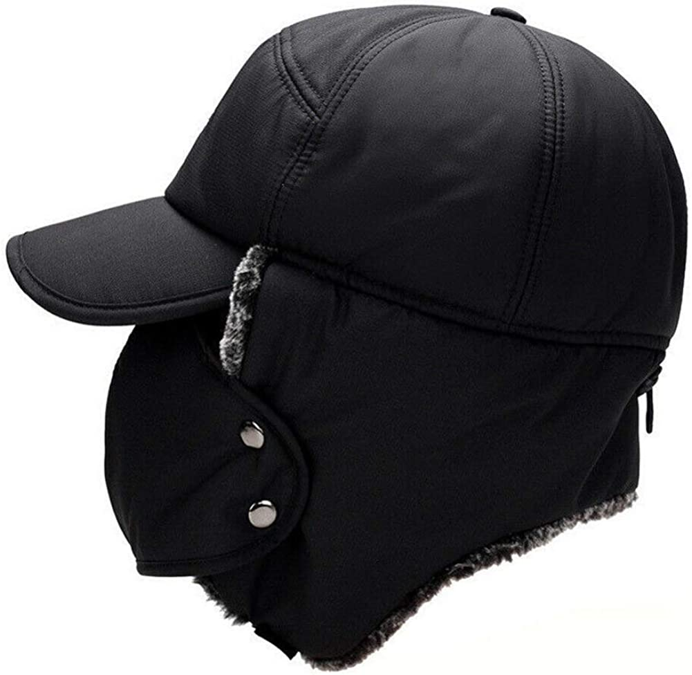 ROPALIA Winter 3 in 1 Thermal Fur Lined Trapper Bomber Hat, Dustproof Windproof Full Face Shield Hat for Men and Women