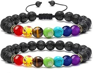 MONOZO Bead Chakra Bracelet - 7 Chakras 8mm Lava Rock Stone Anxiety Bracelet Essential Oil Diffuser Stone Yoga Beads Brace...