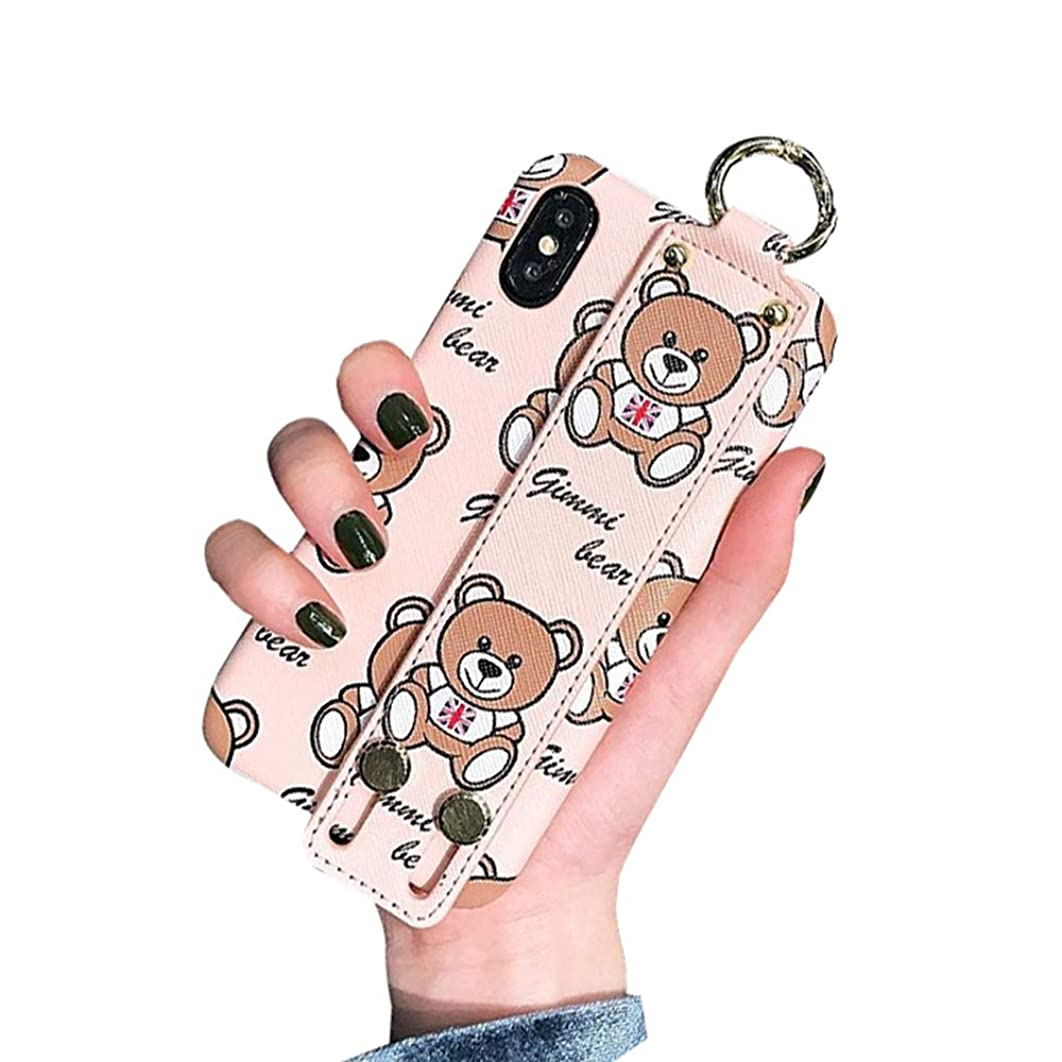 Fusicase for iPhone Xs Max Case Leather Case PU Leather Luxury Cute Bear Pattern Design Protective Cover with Hand Wrist Strap Stand Support Bracket Ring Clasp Case for iPhone Xs Max Pink