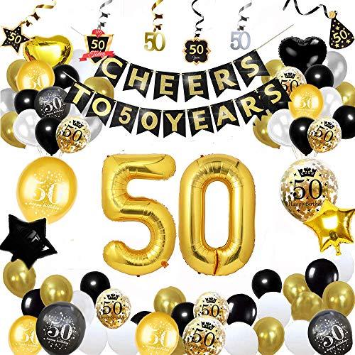Decorazioni per la Festa del 50 ° Compleanno, Forniture per Feste in Oro Nero Imposta Applausi a 50 Anni Banner Foil Coriandoli Palloncini in Lattice Stelle Filanti per Uomo dei Donne