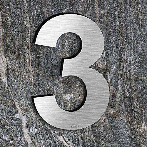 qoboob® Edelstahl Hausnummern 3 Drei Straße Nummer Fein gebürstet Silber 200mm (1 Stück)