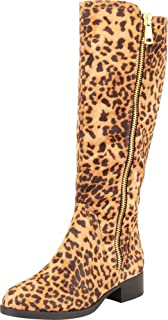 Cambridge Select Women's Almond Toe Side Zip Riding Chunky Block Low Heel Knee-High Boot