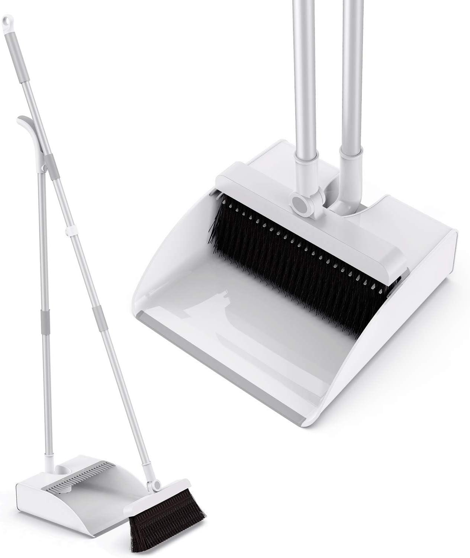 Tencoz Broom and Dustpan with Long Handle, Shovel and Broom Set Broom  Length 9 cm, Sweeping Brush and Dustpan Sweeping Set Broom Upright Shovel  for ...