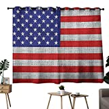 NUOMANAN Bedroom Curtains USA,Fourth of July Independence Day Burlap Looking Retro Vintage Country Pastel Color,Blue Red White,Pocket Thermal Insulated Tie Up Curtain 42'x45'