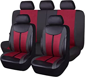 Flying Banner Burgundy Leather and Mesh Breathable Universal Car Seat Covers Sets with Airbag Compatible