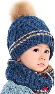 TAGVO Bonnet Chapeau Enfant dhiver Cercle Echarpe Ensemble Chaud Enfant Bonnet pour Tout-Petits avec Cache-Cou pour B/éb/é Knfants Filles Gar/çons