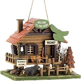 Songbird Valley Welcome to The Cabin Birdhouse, Outdoor Wooden Hanging Bird House for Garden,Patio,Backyard