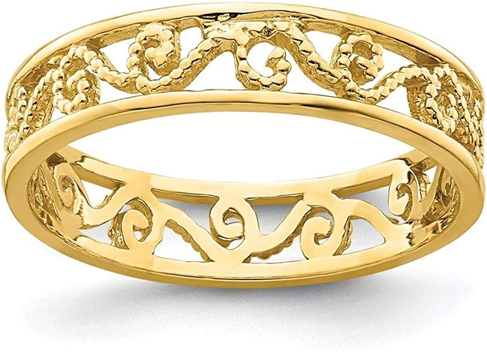 14K Yellow Gold Beaded Scroll Cut-Out Band Toe Ring, Size 2