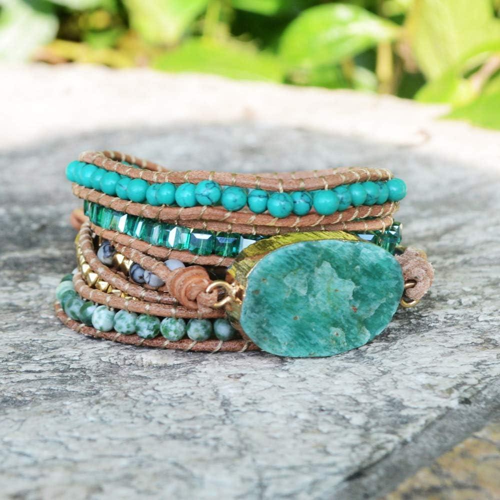 ZENGORI Handmade Wrap Bracelet Turquoise, Jasper & Amazonite Natural Stones Leather Charm 5 Strands Boho Bracelet