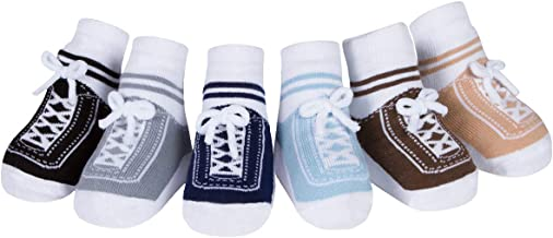 Baby Infant Toddler Boy Shoe Look Sneaker Socks-Anti Slip Soles - Cotton - 6 Pr - Baby Shower Gift (0-12 Months, Stepping Out)