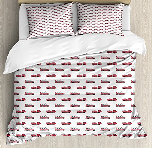 Lunarable Fire Truck Queen Size Duvet Cover Set, Pattern of The Fire Engines and Ambulances Security Safety and Rescue Vehicles, Decorative 3 Piece Bedding Set with 2 Pillow Shams, Multicolor