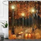 Herbst Thanksgiving Duschvorhänge für Badezimmer, Herbst Kürbis Halloween Stoff Duschvorhang-Set, brauner Baum, lustiger Urlaub Badezimmer Zubehör Dekor, Haken enthalten 183 x 183 cm