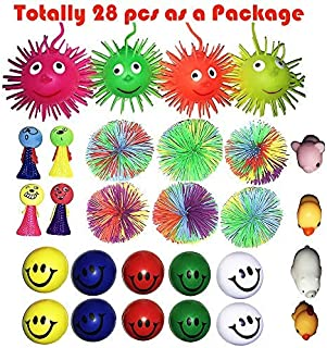 28 PCS Puffer Stress Relief Toys Value Relax Toy Balls, Squeeze Ball Puffer Ball Assortment Hand Exercise Balls