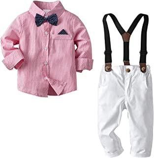 Nwada Boys Clothes Sets Toddler Boy Outfits Gentleman Suits 2pcs Long Sleeve Bow Tie Shirts and Suspenders Pants