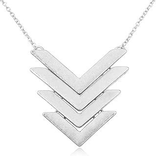 Bohemian Geometric Pendant Long Necklace - Boho Metallic Charm Layering Chain Moroccan Clover Quatrefoil/Floral Filigree/Tassel/Bar/Disc Hoop