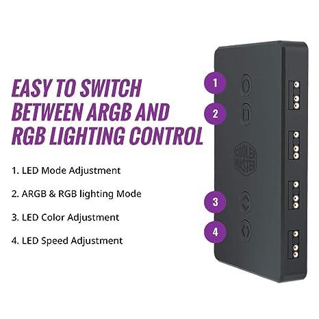 Mulitples Effets de Couleurs et Mode de d/étection Thermique Cooler Master Contr/ôleur ARGB LED Small Bo/îtier de contr/ôle pour /éclairage LED ARGB avec Port 3 Broches