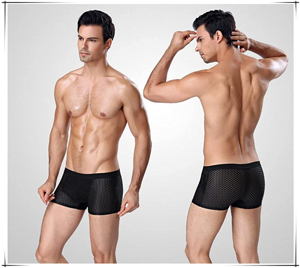 Mens Boxers Briefs 4Pcs/Lot Underwear Men'S Panties Boxers Shorts Male Underpants For Man Mesh Sexy Homme Bamboo Ice Silk Nylon Large Size 6Xl 7Xl-E_4Xl
