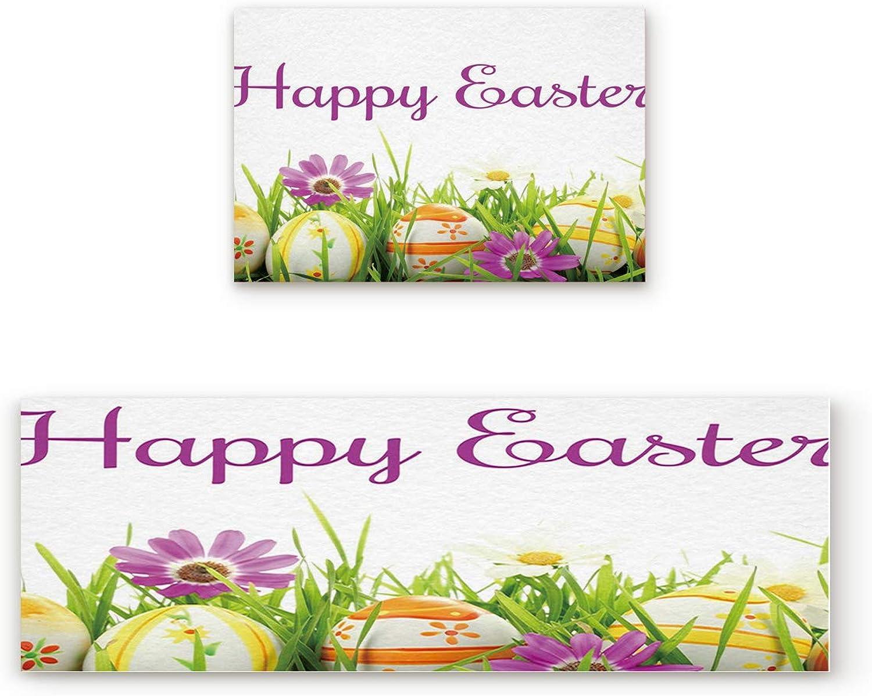 Greday Kitchen Rugs, Non Slip Mat Kitchen Rug Set 2 Piece Happy Easter 19.7 x31.5 +19.7 x63