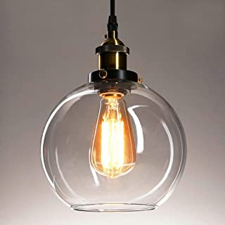 Frideko Vintage Ball Glass Ceiling Pendant Light - Industrial Style Globe Glass Lampshade Hanging Fixture Lighting with Adjustable Cord Length for Kitchen Island Dining Room, use E26 Edison Bulb