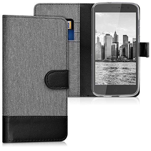 kwmobile Wallet Hülle kompatibel mit ZTE Blade V8 Lite - Hülle Kunstleder mit Kartenfächern Stand in Grau Schwarz