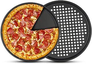 2 plateaux à pizza antiadhésifs (avec trous), PAWACA plateau à pizza en acier au carbone de 12 pouces pour la cuisson au f...