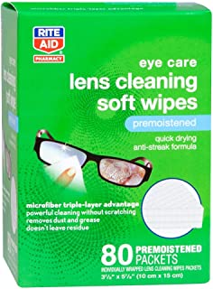 Rite Aid Lens Cleaning Soft Wipes, 80 Premoistened Packets