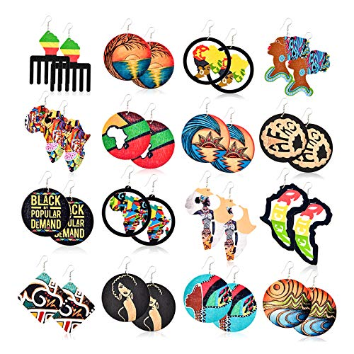 Vathery 16 Pairs African Wooden Earrings, Round Ethnic Earrings for Women Girls