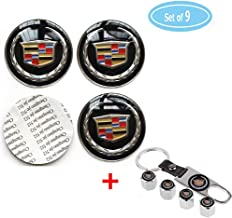 4 Pack For Cadillac Wheel Center Caps Emblem-Black,2.56'' 65mm Rim Hub Emblem Badge Sticker + 4 Pack Valve Covers Fit for Cadillac ATS CTS EXT SRX All Models Cadillac Emblem (Black, 65MM/2.56'')
