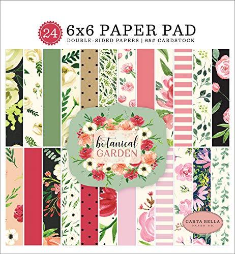 Carta Bella Paper Company Botanical Garden 6x6 Pad paper, pink, green, black, red, cream