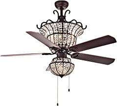 Warehouse of Tiffany CFL-8154BR Charla 4-Light Crystal 52-inch Chandelier Ceiling Fan, Red