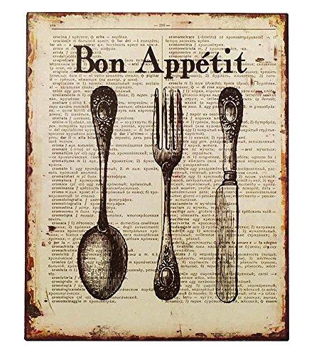 zeitzone Nostalgie Blechschild Bon Appétit Besteck Dekoschild Vintage 25x20cm