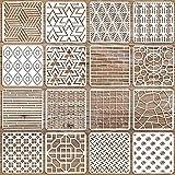 OOTSR 16Pz Plantillas de Pintra Reutilizables, Plantillas Geométricas Plantilla Decorativa Stencil, Plantillas de Dibujos para Pintar Plantillas Stencil Manualidades para DIY, 20x20cm