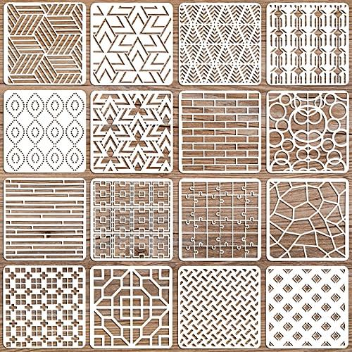 OOTSR 16Pz Plantillas de Pintra Reutilizables, Plantillas Geométricas Plantilla Decorativa Stencil, Plantillas de Dibujos...