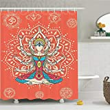 CHENHAO Shower Curtain Washable Yoga Decor Set Yoga Technique with Ethnic Costume Insignia Zen Discipline Your Body and Waterproof 120X180cm