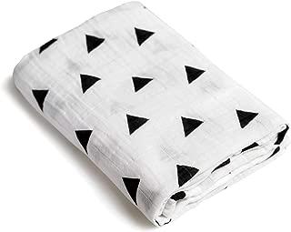 Triangle Print Newborn Baby Swaddle Blanket/Ultra Soft, 100% Cotton Muslin Receiving Blankets (Triangle Print [B&W])