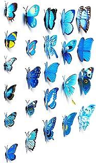 comprar comparacion Adhesivos 3D decorativos para pared, diseño de mariposas. 12 unidades (Azul)