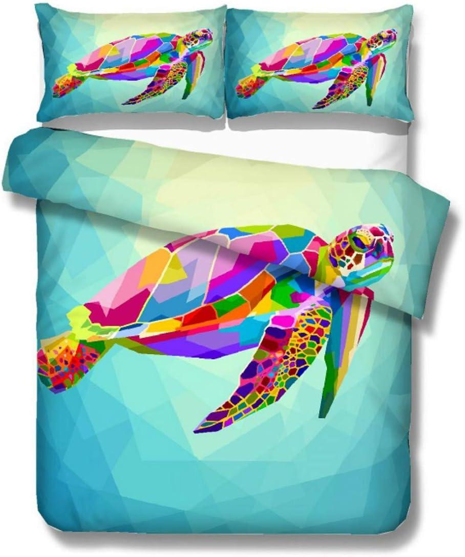 Turtle Boy Kids Bedding Set 3D Digital 67% OFF of fixed price Blue Geometric Max 43% OFF Pink Yello