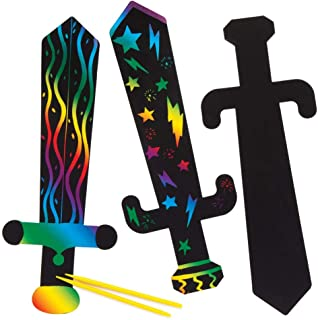 Baker Ross Ltd Sword Scratch Art (Pack of 6) AW656, Rainbow Scratch Paper with Stylus for Kids to Decorate in Arts and Crafts…