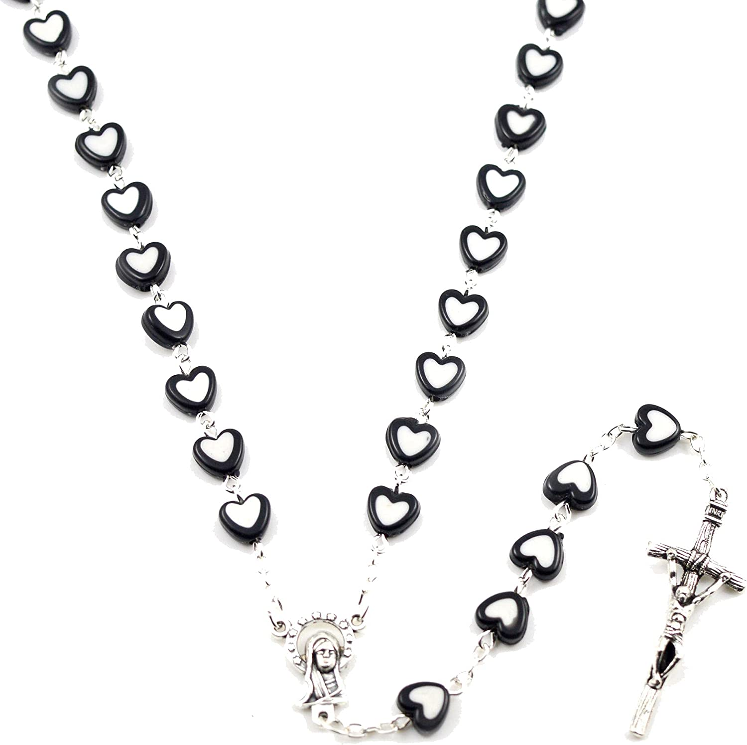 Heart Acrylic Rosary Necklace Pendant Religious Crucifix Alloy Chain Fashion Women Jewelry