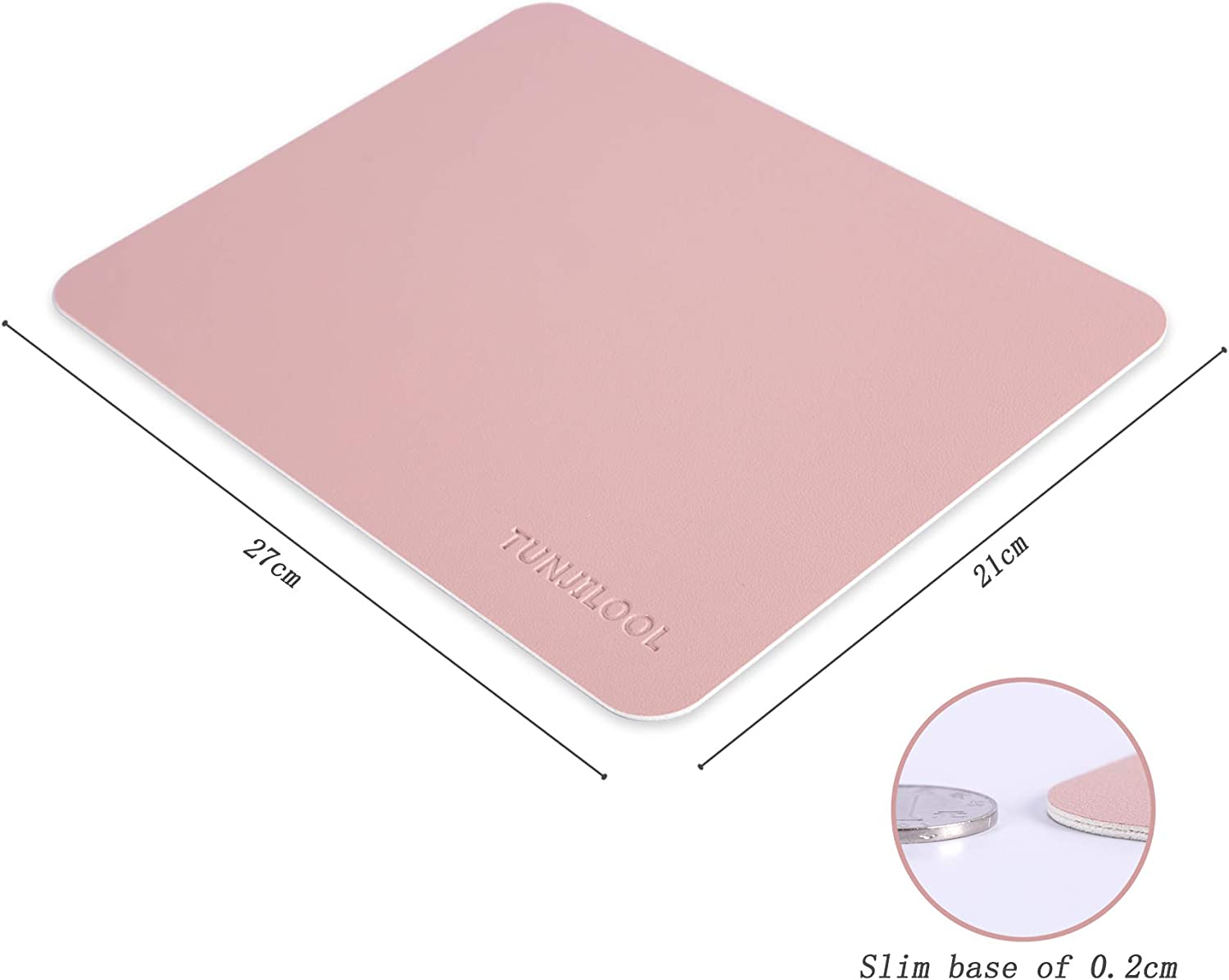 Gray//Sliver TUNJILOOL 2 in 1 Double Sided Rectangle Mouse Pad 270x210x2mm PU Waterproof Leather Protective Writing Pad for Office Home